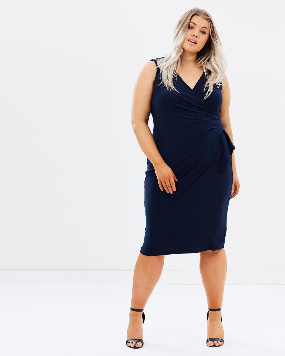 EVANS Sleeveless Wrap Dress With Diamante Detail Dresses Navy Sleeveless Wrap Dress With Diamante Detail