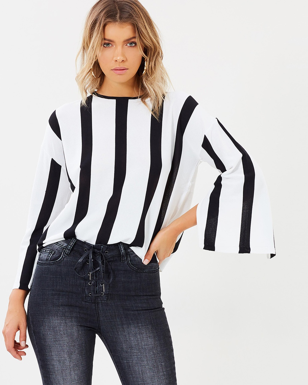 Atmos & Here ICONIC EXCLUSIVE Mahlia Stripe Knit Top Tops Black & White ICONIC EXCLUSIVE Mahlia Stripe Knit Top