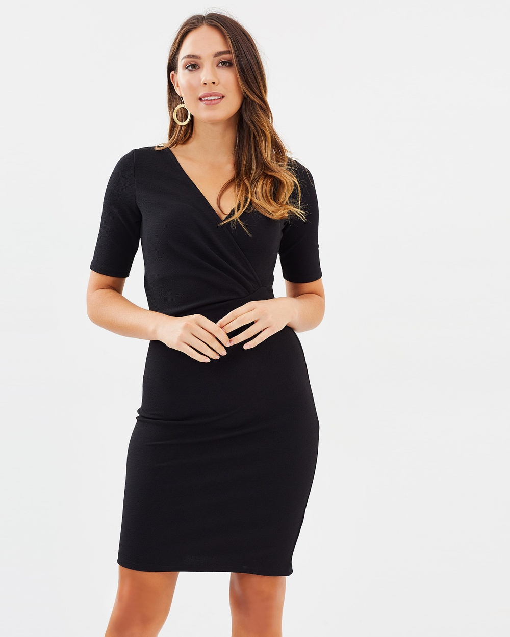 Dorothy Perkins Ruched Side Pencil Dress Dresses Black Ruched Side Pencil Dress