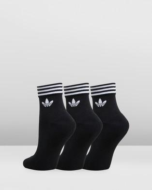 adidas Originals Trefoil Ankle Socks 3 Pack - Underwear & Socks (Black & White)