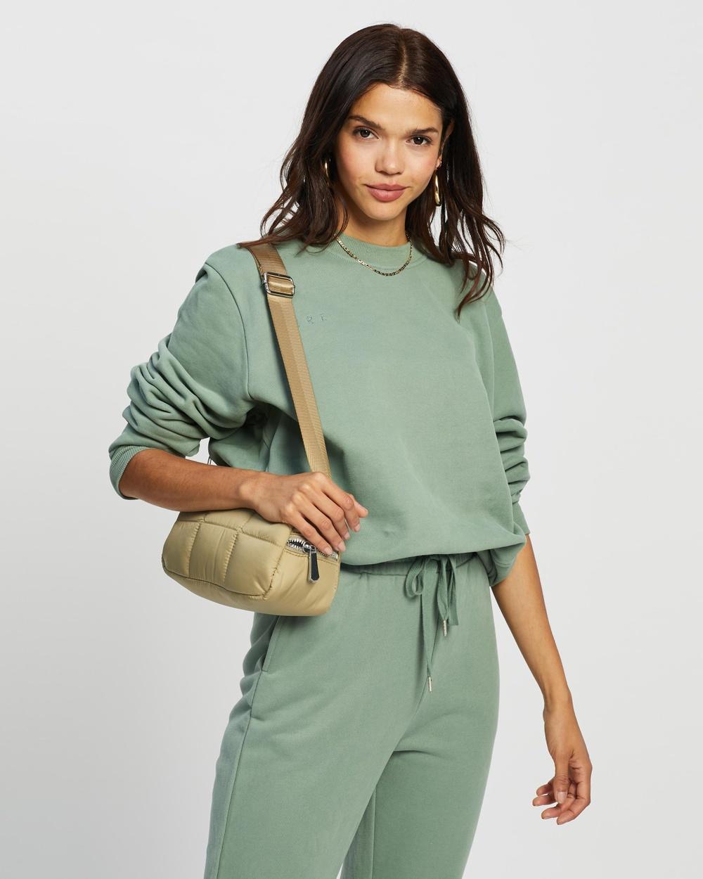 AERE Organic Cotton Sweat Top Sweats Grey Green