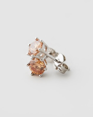 Michael Hill Stud Earrings with Cubic Zirconia - Jewellery (Sterling Silver & Morganite)
