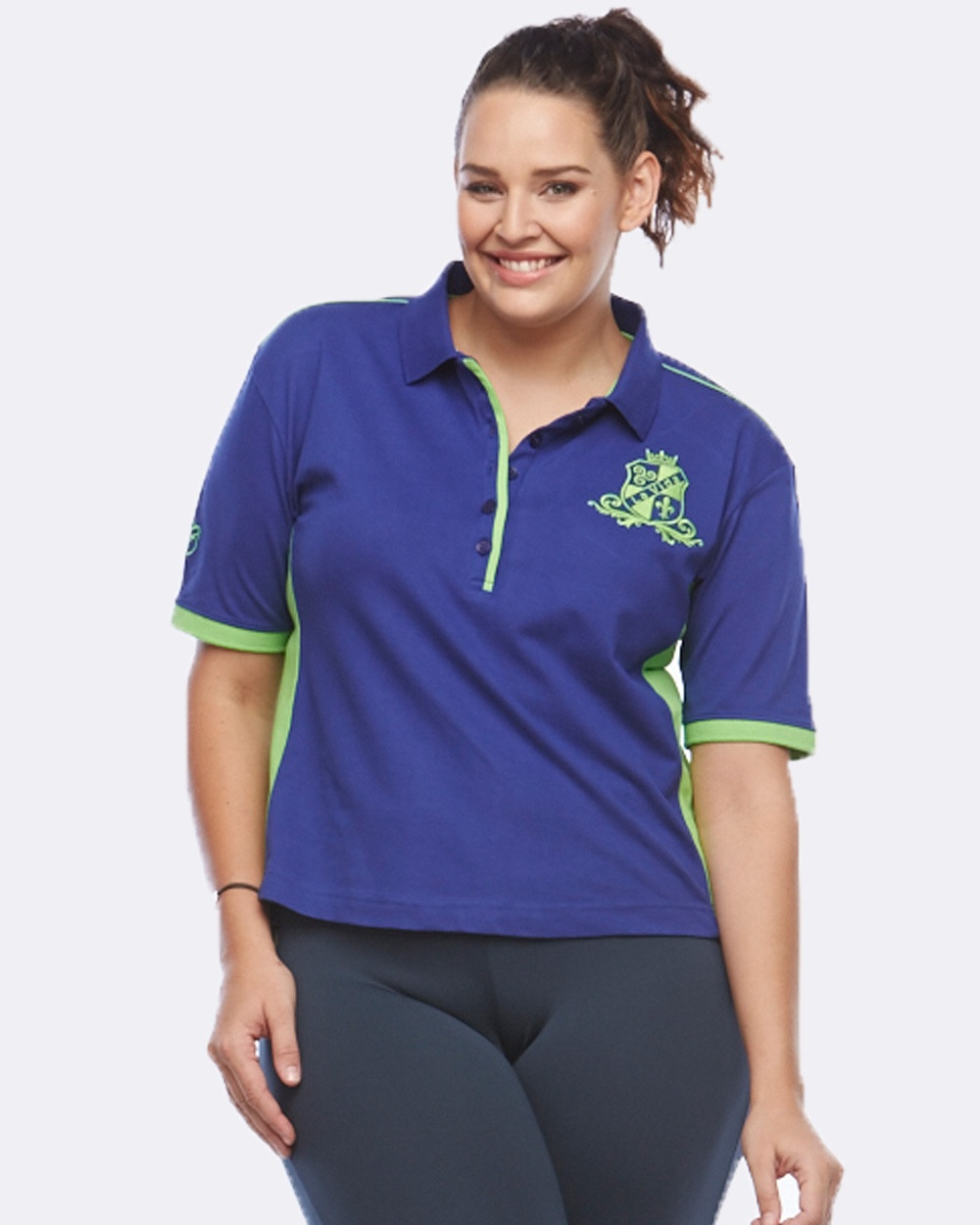 Curvy Chic Sports EQ Polo Tops Navy/Green EQ Polo