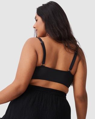 Cotton On Curve - Shirred Cropped Bralette Bikini Top Tops (Black Shirred)