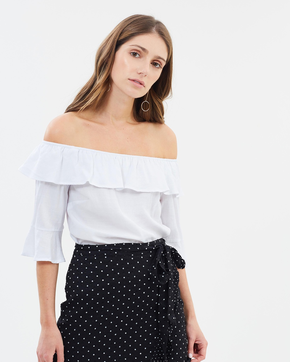 Oasis Textured Tie Shoulder Top Tops Off White Textured Tie Shoulder Top