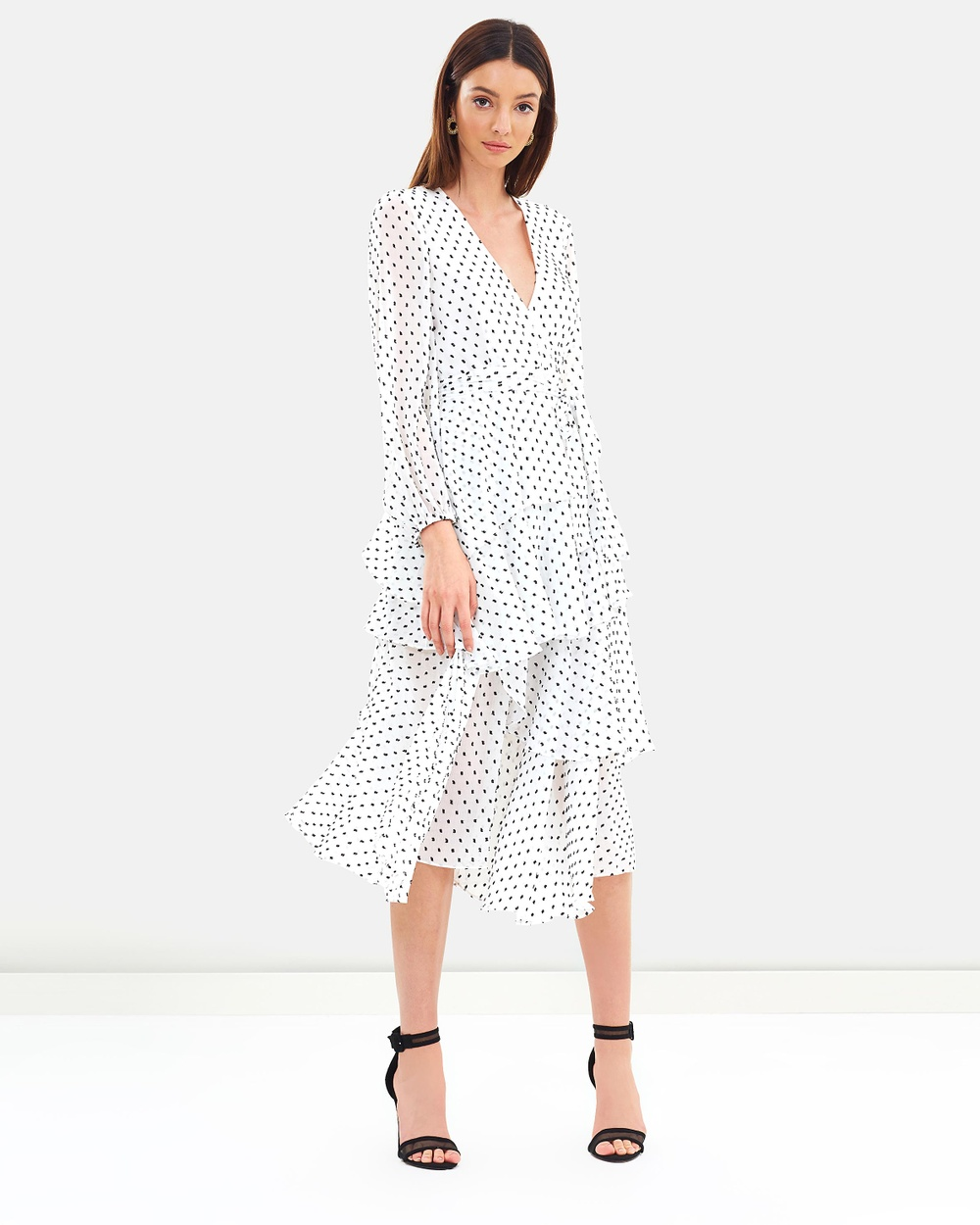Shona Joy Tiered Midi Dress Printed Dresses White & Black Tiered Midi Dress