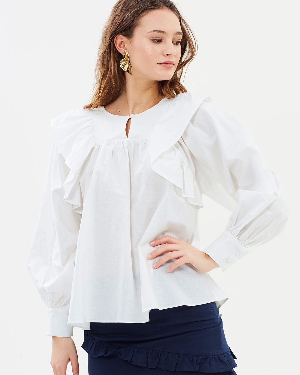 IMONNI Marian Cotton Linen Top Tops White Marian Cotton-Linen Top
