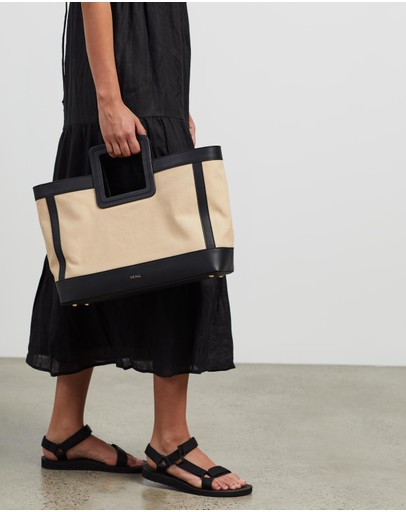 Fall The Label - Canvas Black Leather Tote