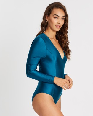 Duskii Oc??ane Sleek Long Sleeve One Piece - One-Piece / Swimsuit (Teal)