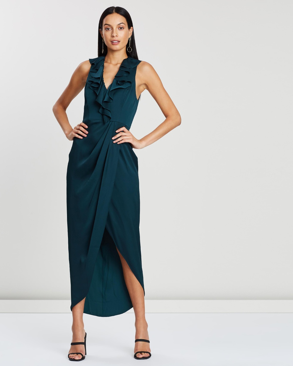 Shona Joy Plunge Frill Dress Bridesmaid Dresses Emerald Plunge Frill Dress