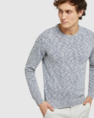 Oxford Jeff Crew Neck Knit - Jumpers & Cardigans (Blue)