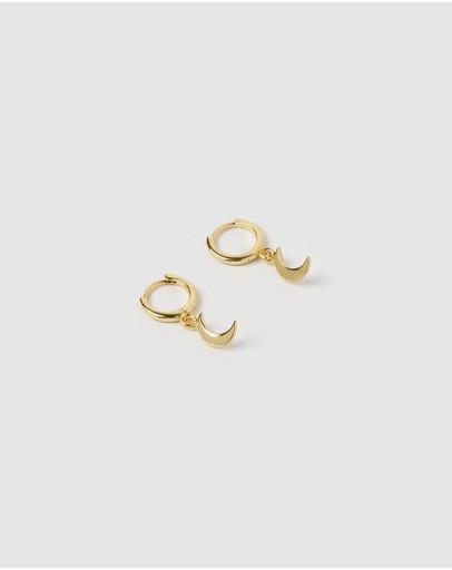 Izoa Mini Moon Huggie Earrings Gold