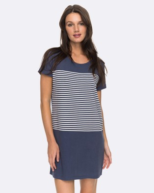 Roxy – Womens Mind Blowing Stripe Tee Dress – Swimwear NIGHTSHADOW BLUE