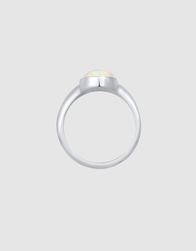 Women Ring Signet Ring Trend with Synthetic Opal in 925 Sterling Silver