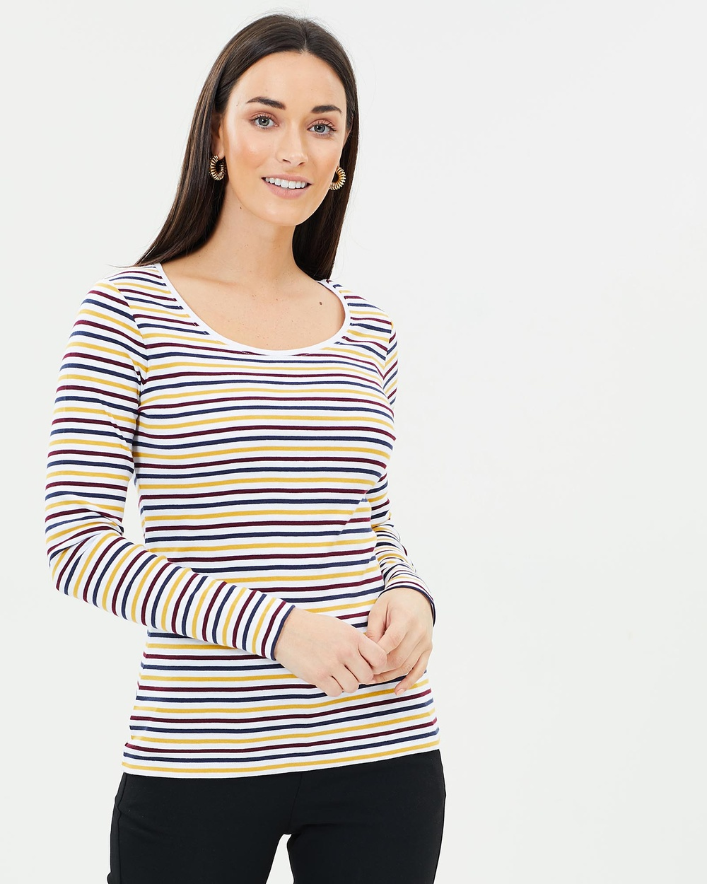 Sportscraft Heidi Long Sleeve Stripe Tee Tops Mustard & Multi Heidi Long Sleeve Stripe Tee