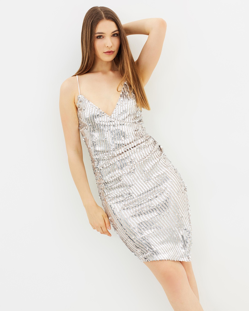 Lipsy Saturday Night Sequin Body Con Dress Bodycon Dresses Silver Saturday Night Sequin Body-Con Dress