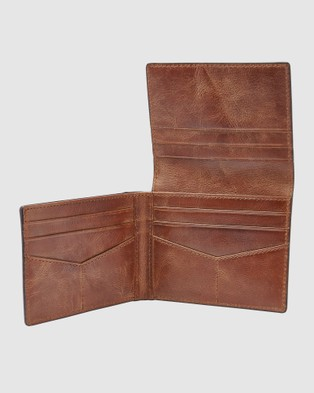 Fossil Derrick Brown Trifold Wallet - Wallets (Brown)