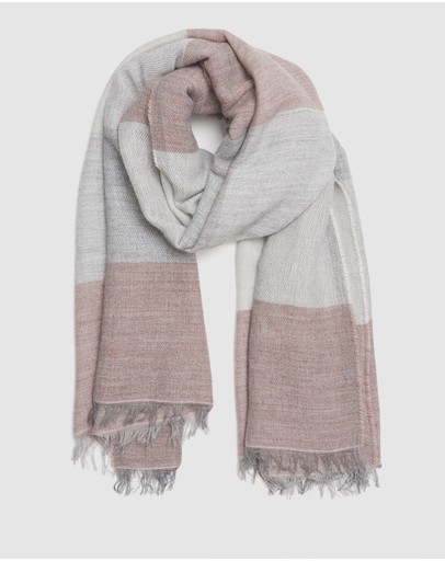 Kate & Confusion Check Scarf Pink And Grey