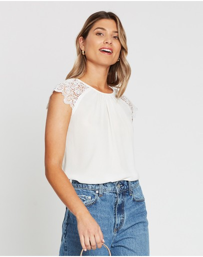 Atmos&here Betty Lace Shoulder Blouse White