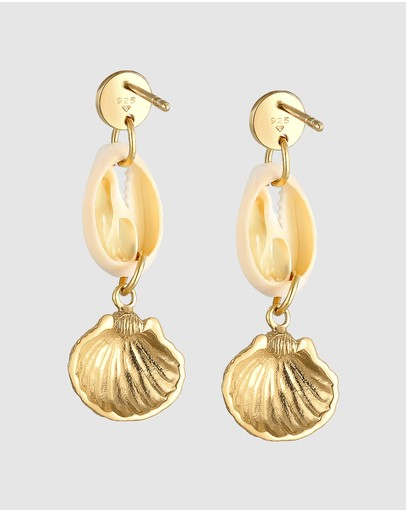 Elli Jewelry Earrings Dangle Kauri Shell Pendant Summer Beach In 925 Sterling Silver Gold Plated
