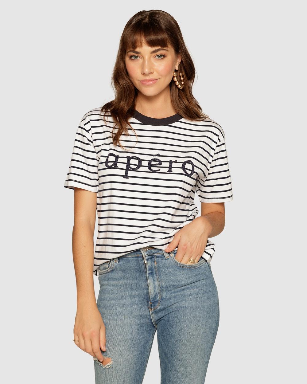 Apero Label - Apero Stripe Beaded T Shirt - T-Shirts & Singlets (Navy) Apero Stripe Beaded T-Shirt