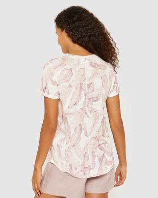 Jag Ava Leaf Printed Linen Tee - T-Shirts & Singlets (green)