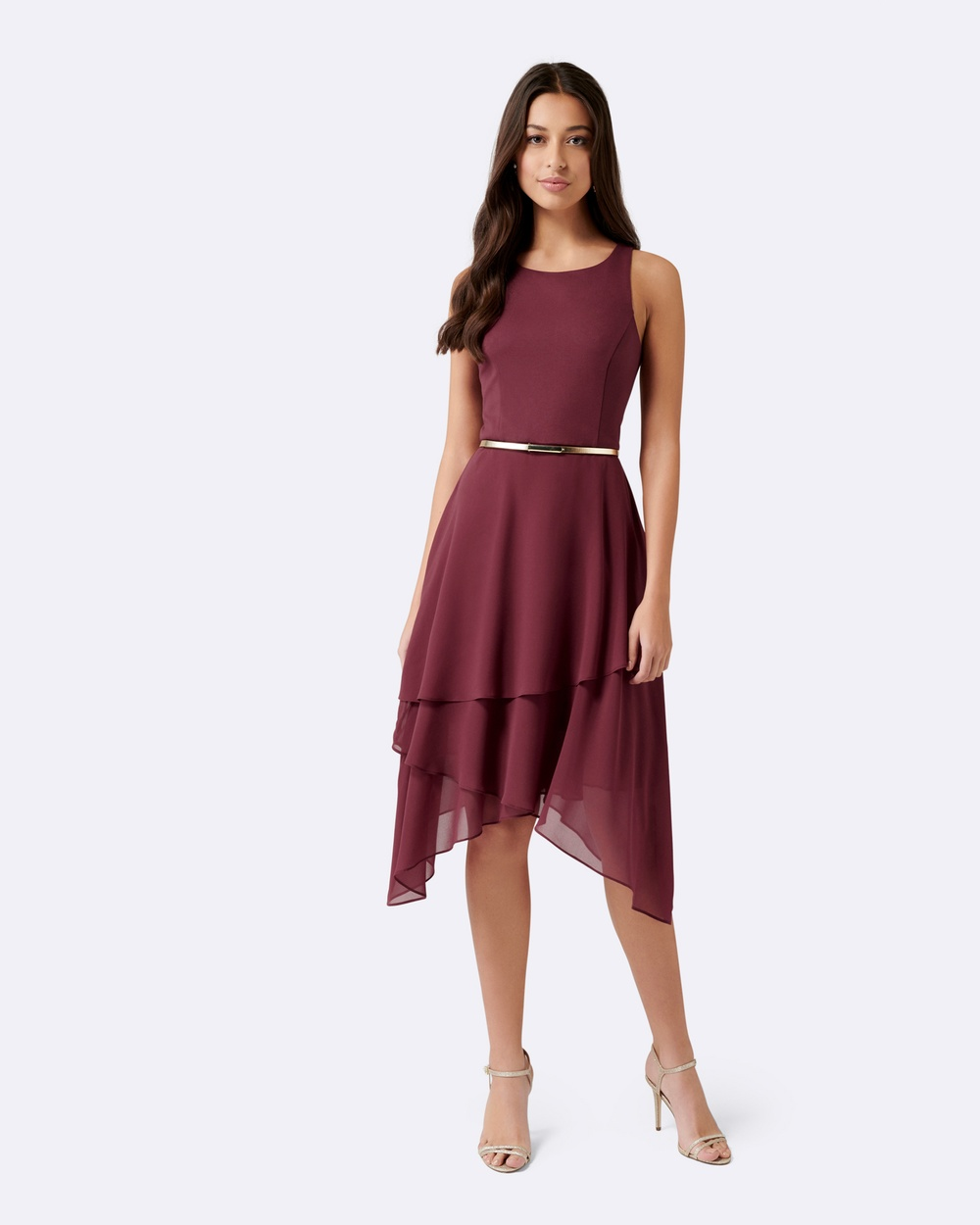 Forever New Lauren Two In One Tiered Maxi Dress Bridesmaid Dresses Deep Carmine Lauren Two-In-One Tiered Maxi Dress
