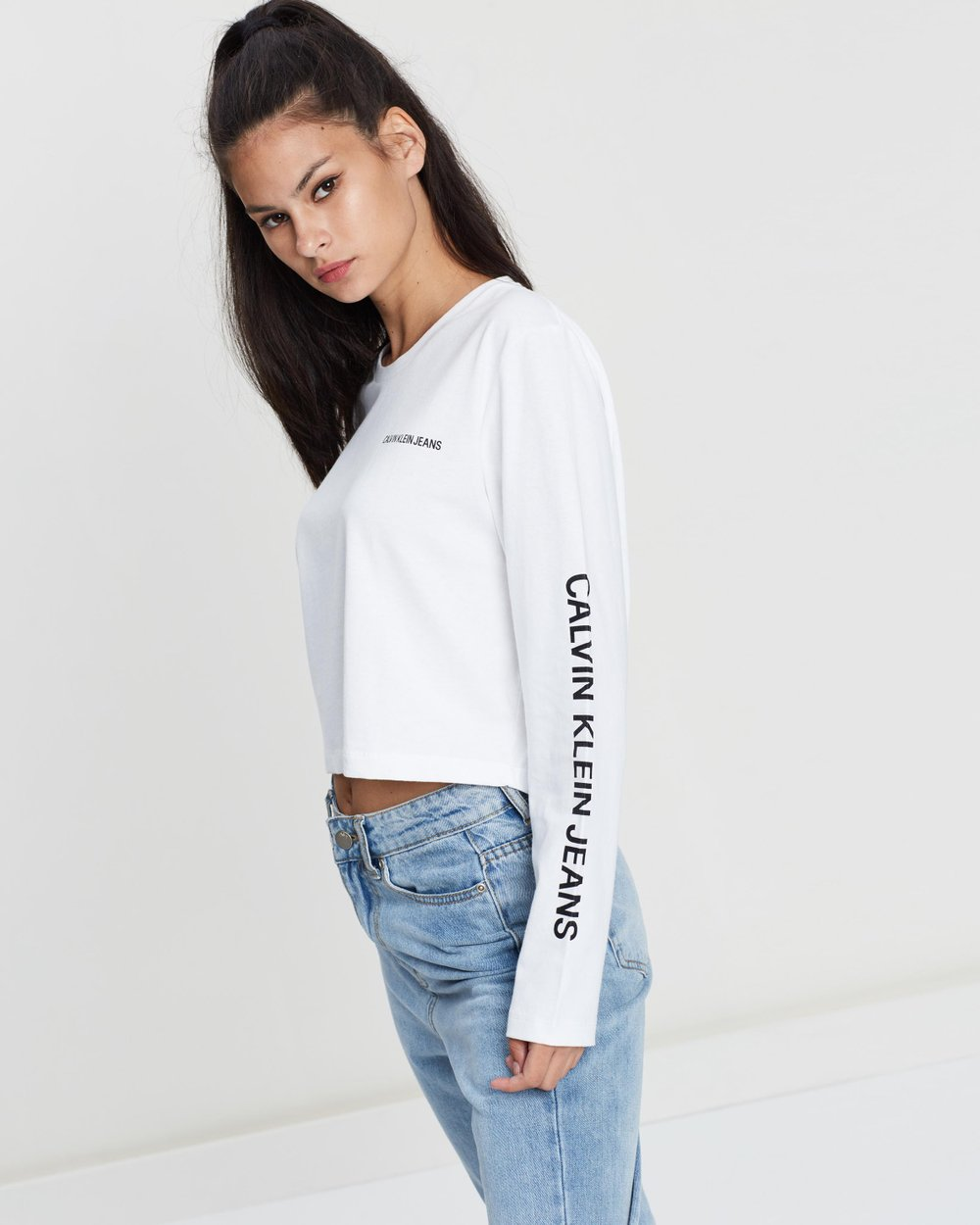 a82eb4fec9b Sleeve Institutional Cropped Tee by Calvin Klein Jeans Online | THE ICONIC  | Australia