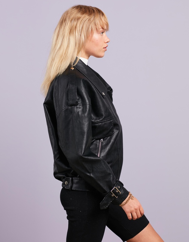 Women Oversized Buckle Detail Biker Jacket