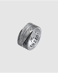Kuzzoi - Ring Feather Vintage Trend Oxidised in 925 Sterling Silver