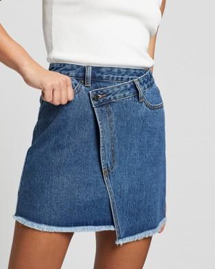 Atmos&Here Jalda Cross Front Denim Skirt - Denim skirts (Mid Denim)