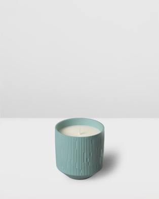 Aery Living Clay Ceramic Plant Pot Candle   Lime Basil & Bay - Candles (Blue)