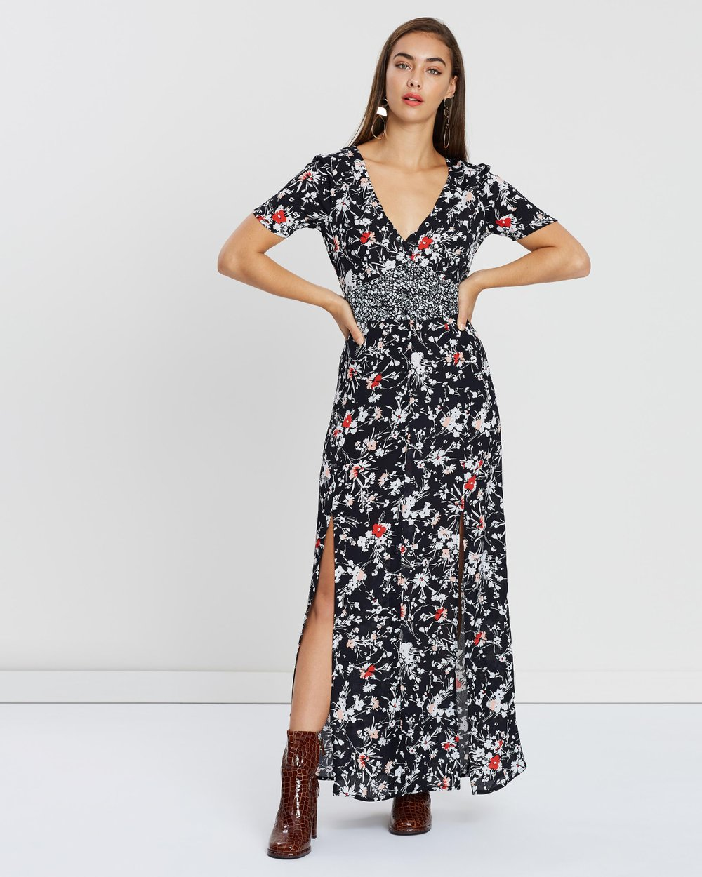 d66023428ba3 Mixed Floral Button Maxi Dress by Miss Selfridge Online | THE ICONIC |  Australia