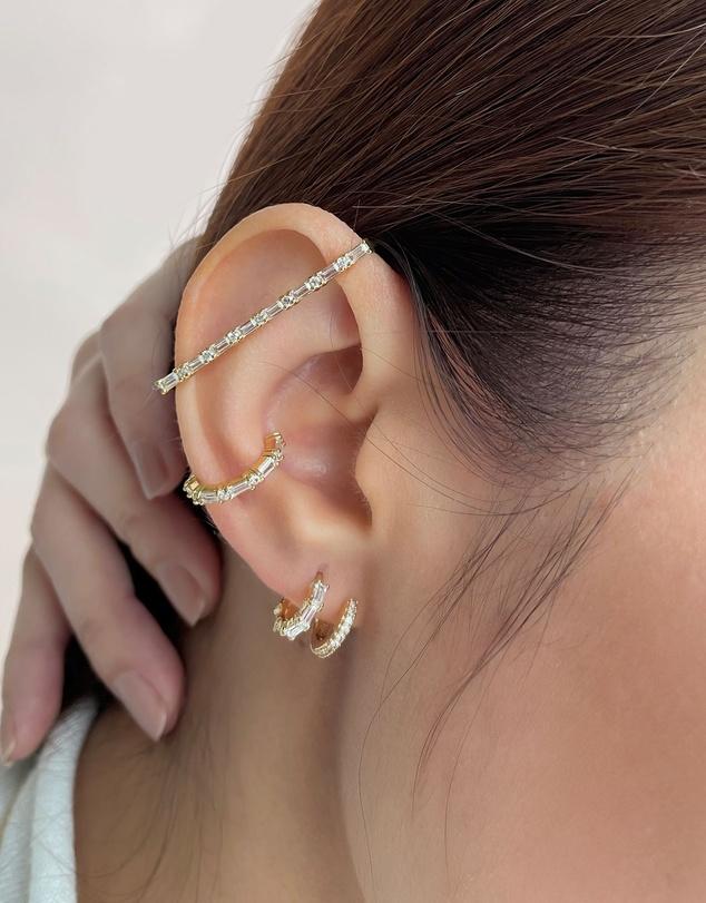 Women Double Pave Gold 7mm Baby Huggie Earrings