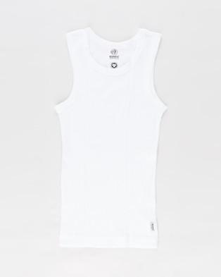 Bonds Kids - Organic Chesty Singlet 2 Pack Teens T-Shirts & Singlets (Black White) 2-Pack Kids-Teens