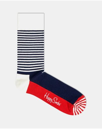 Happy Socks Half Stripe Navy White & Red