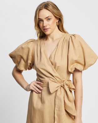 MINKPINK Wrap Frill Dress - Dresses (Camel)