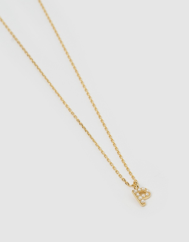 Women Pearl Letter P Necklace Gold