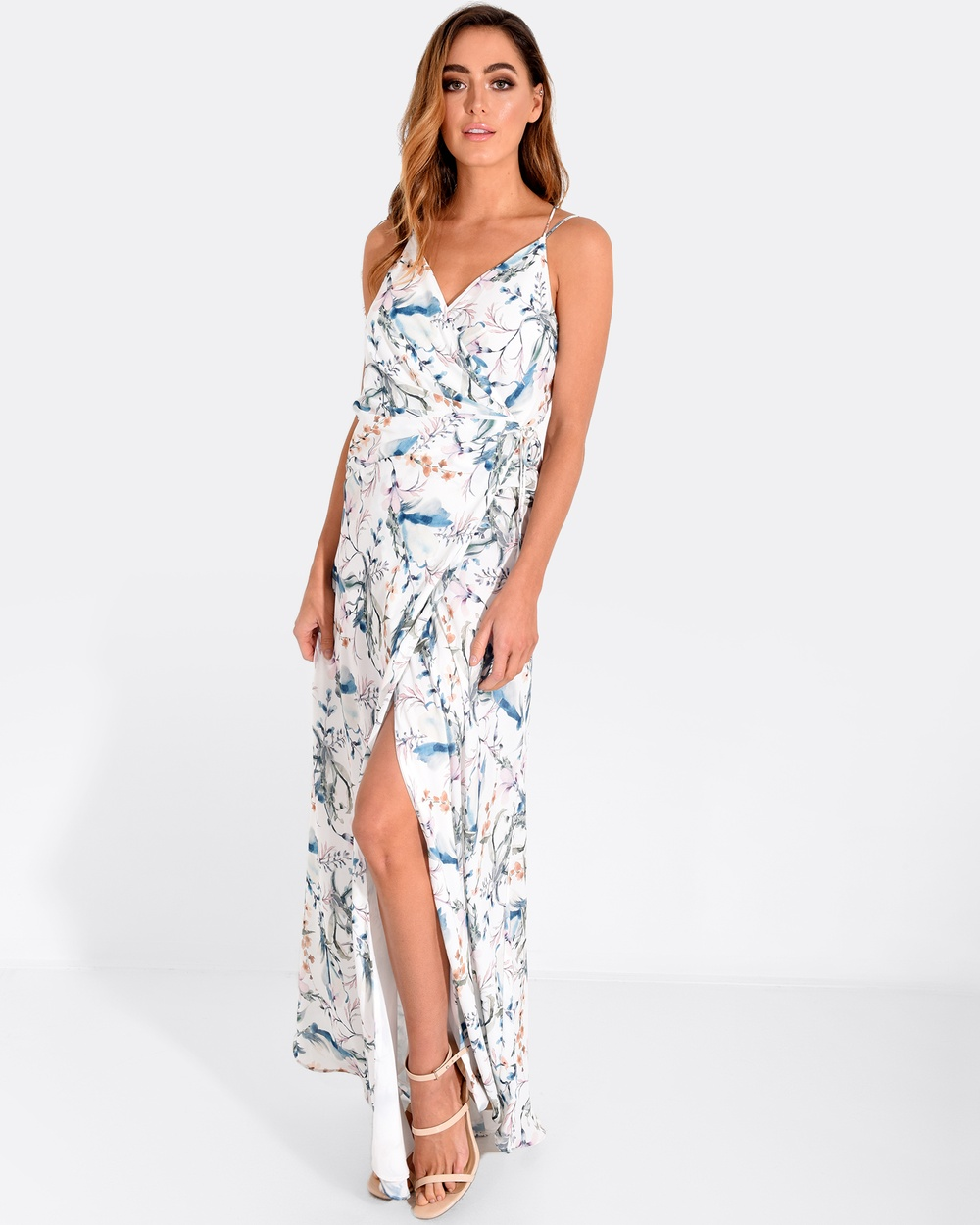 Forcast Ivory Emerson Crossover Maxi Dress