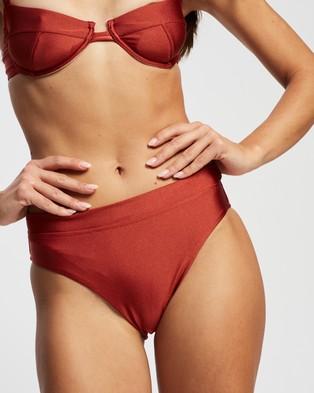 St. Swim Saint Lucia High Rise Bottoms - Bikini Bottoms (Spicy Orange)