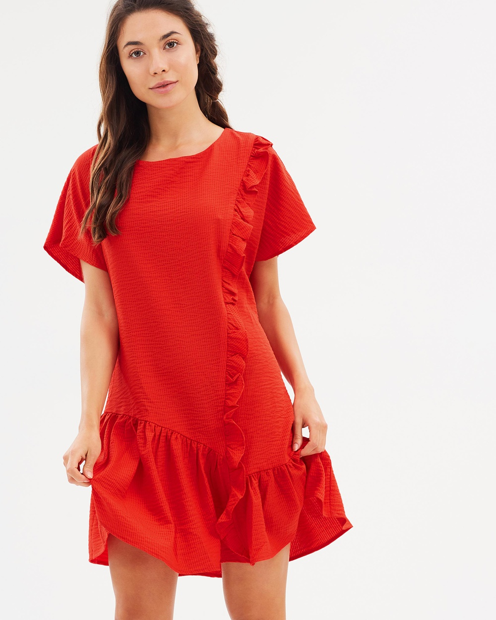 Lost Ink Frill Front Shift Dress Dresses Red Frill Front Shift Dress