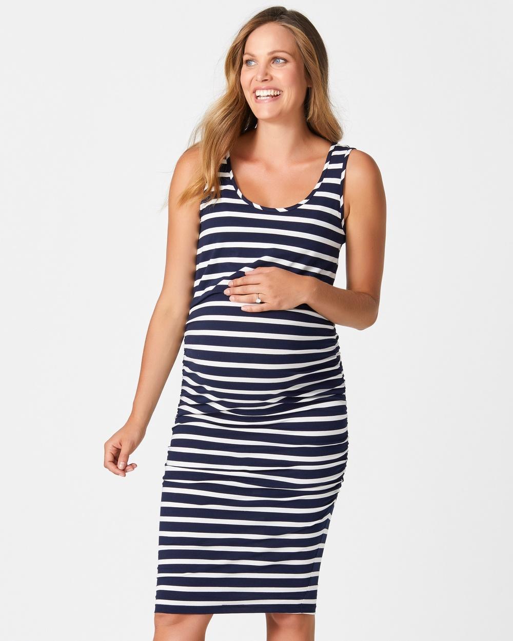 Pea in a Pod Maternity Becky Gather Nursing Dress Bodycon Dresses Navy Stripe Becky Gather Nursing Dress
