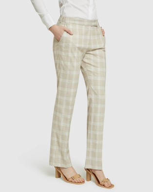 Oxford - Danica Check Suit Trousers Pants (Brown)