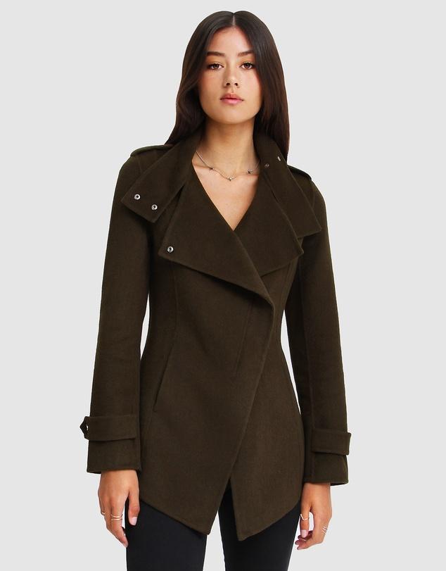 Women Bad Girl Wool Blend Moto Coat