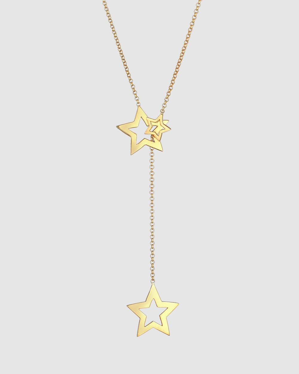Elli Jewelry Necklace Y Shape Star Pendant Astro Trend in 925 Sterling Silver Gold Plated Jewellery Gold Y-Shape