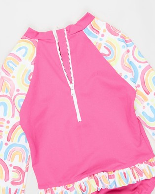 Speedo Flounce Sun Suit   Toddlers Kids - One-Piece / Swimsuit (Chasing Rainbows)