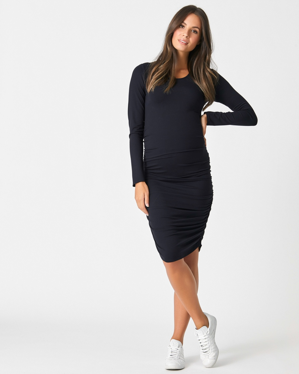Pea in a Pod Maternity Bailey Gather Dress Bodycon Dresses Black Bailey Gather Dress