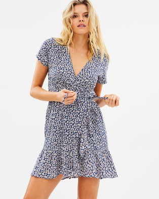 Auguste The Label – Daisy Love Wrap Mini Dress – Printed Dresses Navy