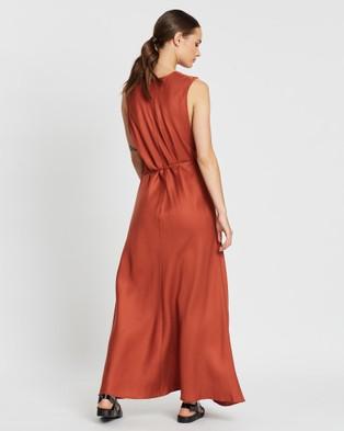 BONDI BORN Fluid V Neck Dress - Dresses (Rust)