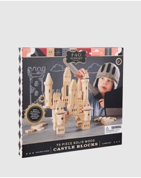 F.A.O SCHWARZ - Toy Wood Castle Blocks 75-Pieces